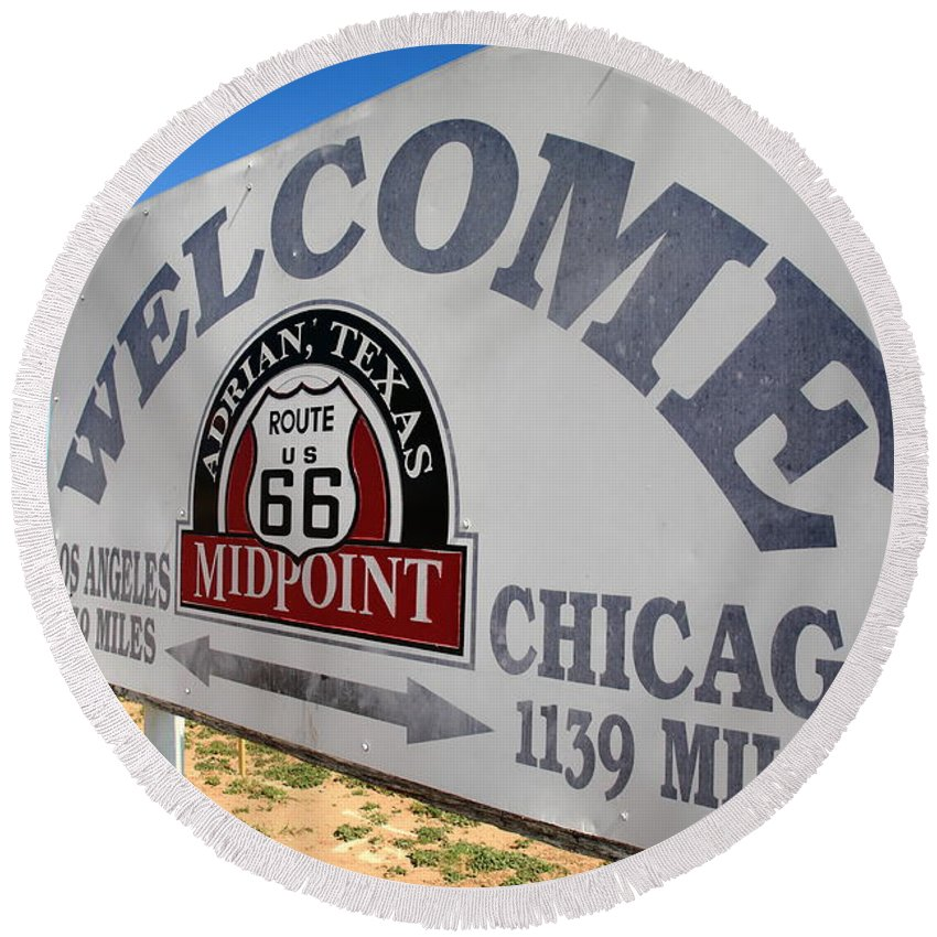 66 Round Beach Towel featuring the photograph Route 66 - Midpoint Sign by Frank Romeo