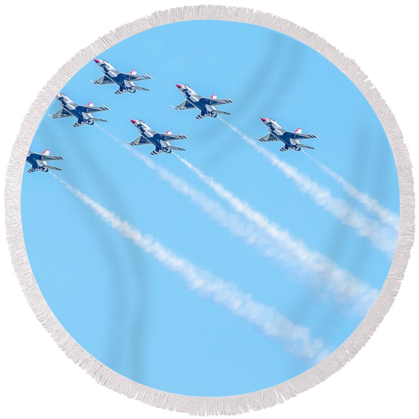 Thunderbirds Round Beach Towel featuring the photograph Thunderbirds In Formation by Amel Dizdarevic