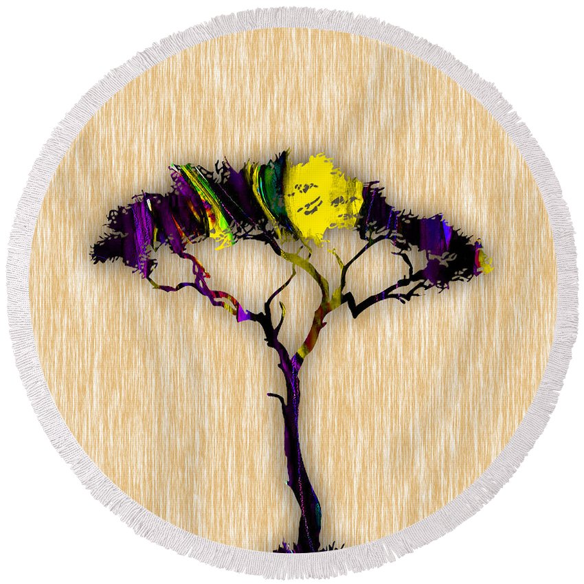 Tree Round Beach Towel featuring the mixed media Tree Wall Art. by Marvin Blaine