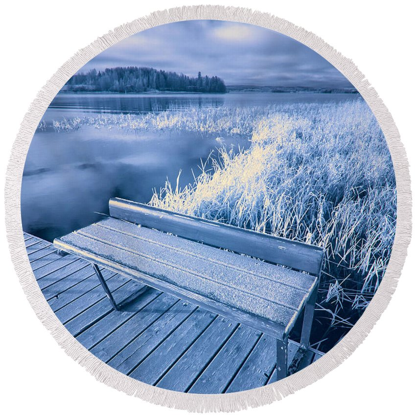 Finland Round Beach Towel featuring the photograph Variations Of A Dock by Jouko Lehto