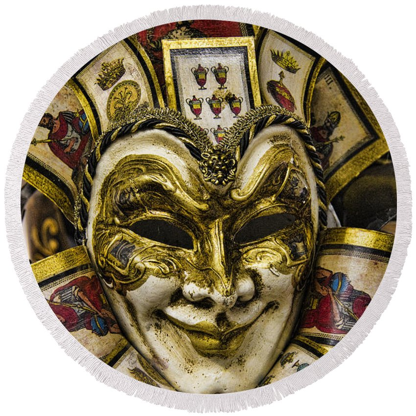 Venetian Round Beach Towel featuring the photograph Venetian Carnaval Mask by David Smith
