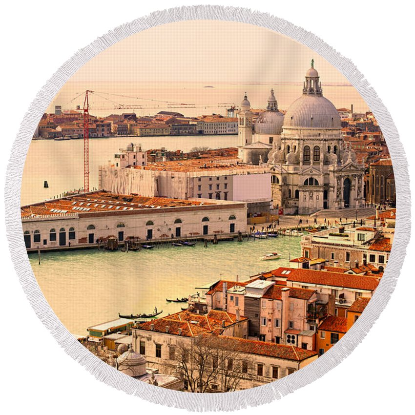 Balcony Round Beach Towel featuring the photograph Venice by Luciano Mortula
