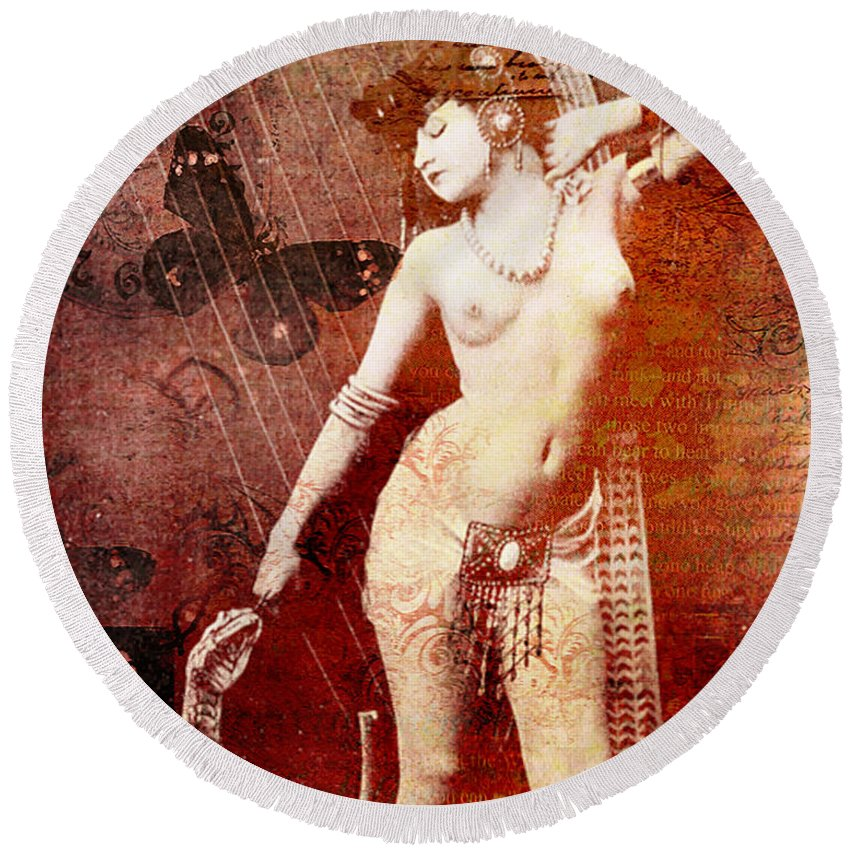 Nostalgic Seduction Round Beach Towel featuring the mixed media Winsom Women by Chris Andruskiewicz