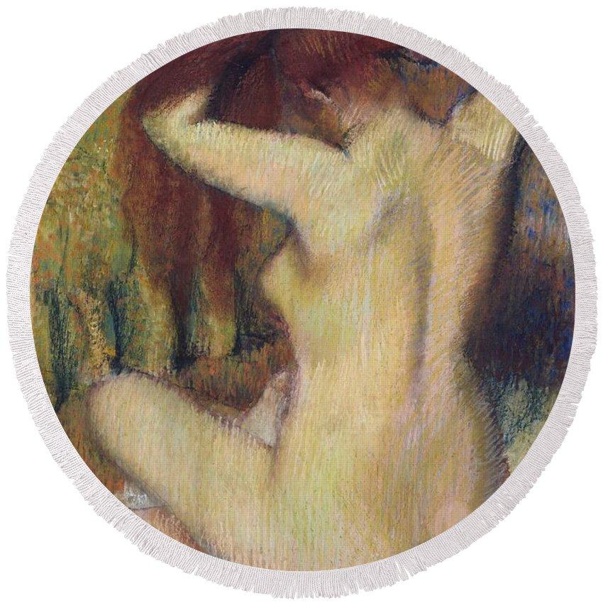 Edgar Degas Round Beach Towel featuring the painting Woman Combing Her Hair by Edgar Degas