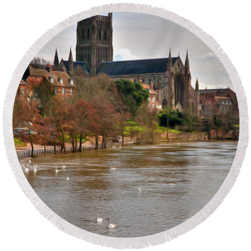 British Round Beach Towel featuring the digital art Worcester Cathedral And Swans by Roy Pedersen