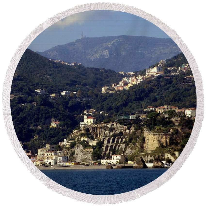 Amalfi Coast Round Beach Towel featuring the photograph Views From The Amalfi Coast In Italy by Richard Rosenshein