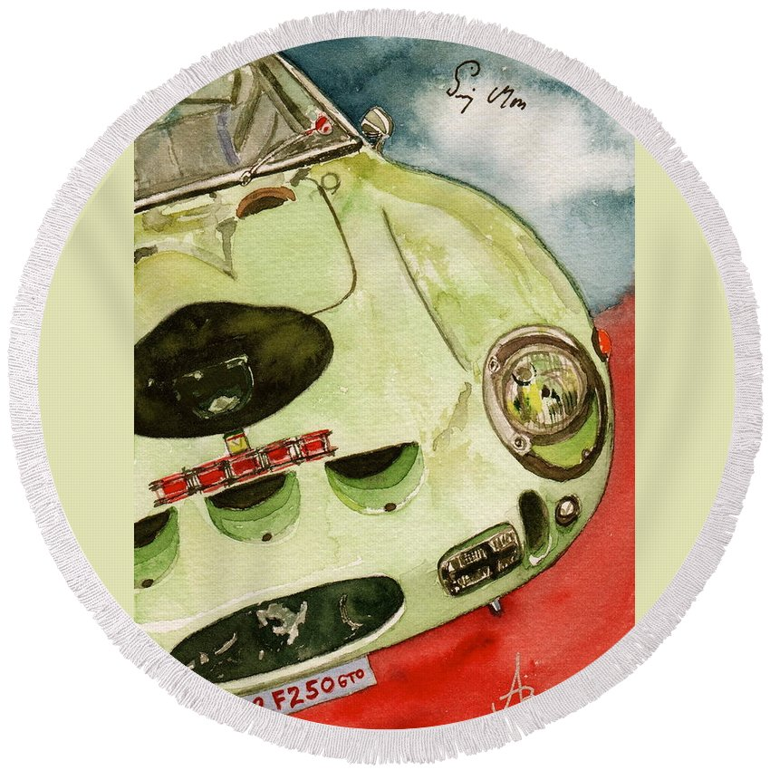 1962 Round Beach Towel featuring the painting 62 Ferrari 250 Gto Signed By Sir Stirling Moss by Anna Ruzsan