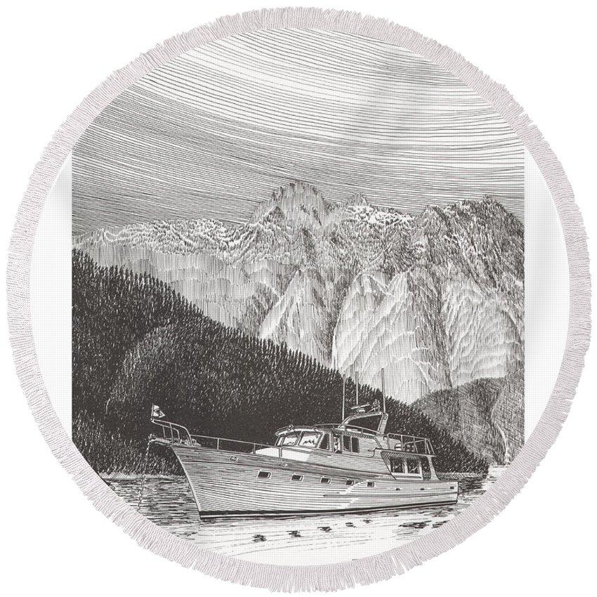 A Pen & Ink Yacht Portrait Of A 65 Foot Yacht Anchored In Desolation Sound Round Beach Towel featuring the drawing Desolation Sound Quiet Anchorage   by Jack Pumphrey