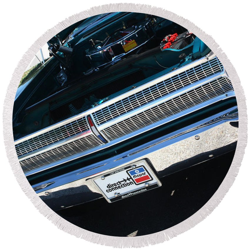 1965 Round Beach Towel featuring the photograph 65 Plymouth Satellite Grill-8481 by Gary Gingrich Galleries