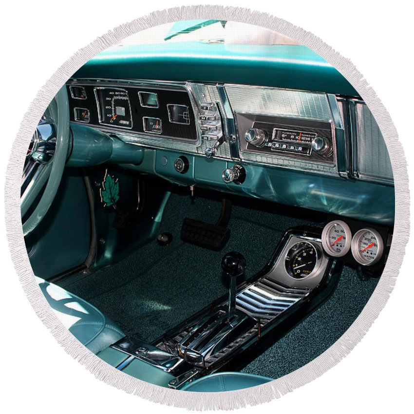 1965 Round Beach Towel featuring the photograph 65 Plymouth Satellite Interior-8499 by Gary Gingrich Galleries