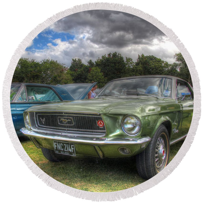 Hdr Round Beach Towel featuring the photograph 68' Mustang by Lee Nichols