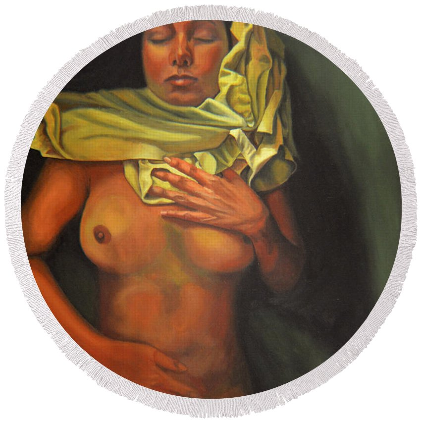 Sexual Round Beach Towel featuring the painting 7 30 A.m. by Thu Nguyen