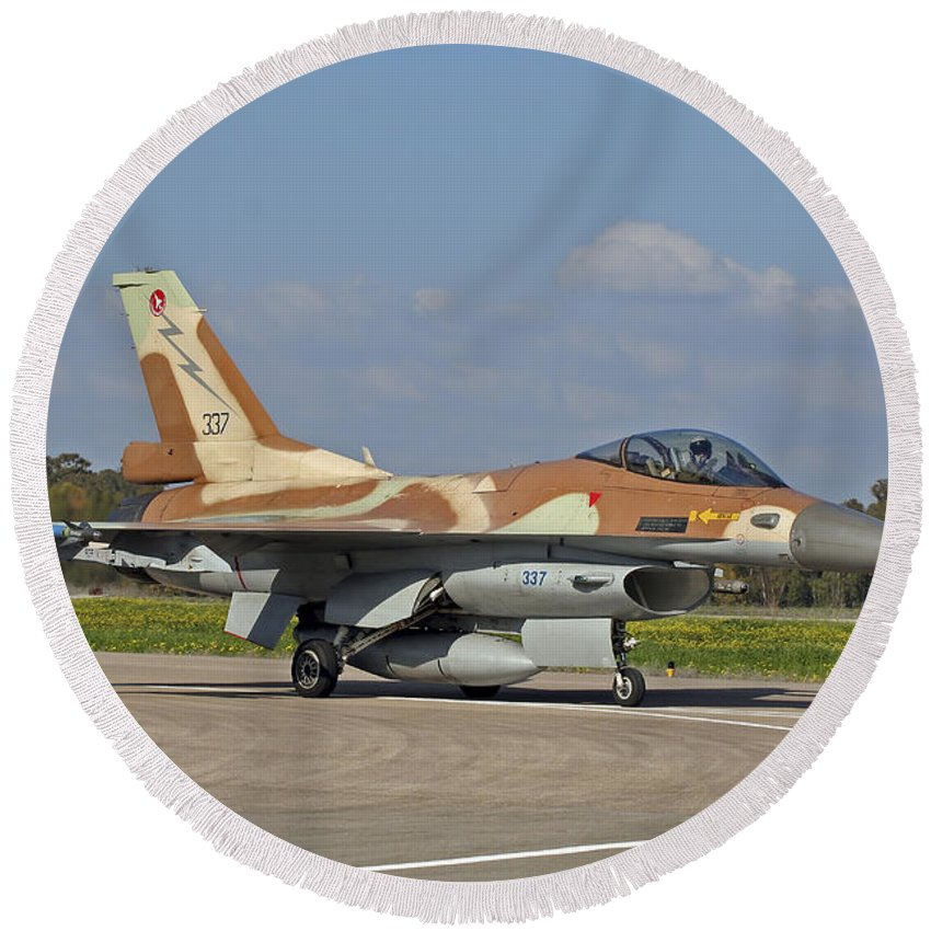Transportation Round Beach Towel featuring the photograph An F-16c Barak Of The Israeli Air Force by Ofer Zidon