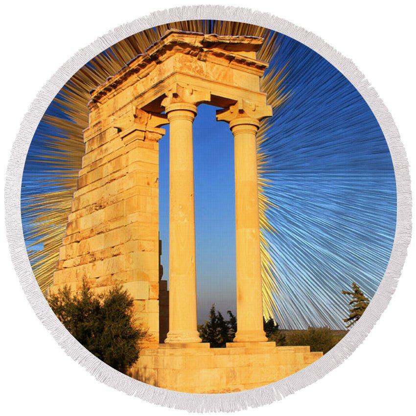 Augusta Stylianou Round Beach Towel featuring the digital art Apollo Sanctuary - Cyprus by Augusta Stylianou
