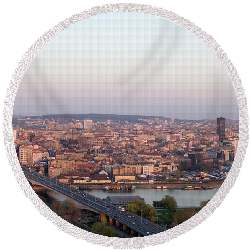 Aerials Round Beach Towel featuring the photograph Belgrade, Serbia by Russell Gordon
