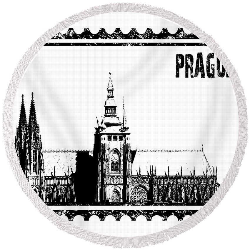 Vector Round Beach Towel featuring the photograph Cathedral Of St Vitus by Michal Boubin