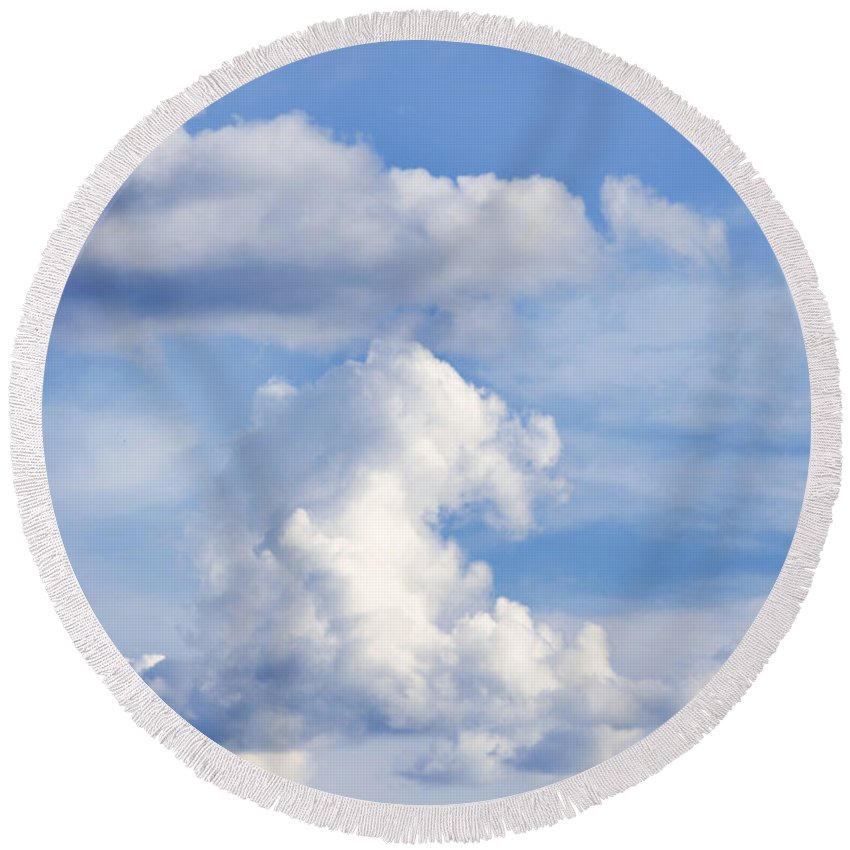 Air Round Beach Towel featuring the photograph Clouds by Les Cunliffe