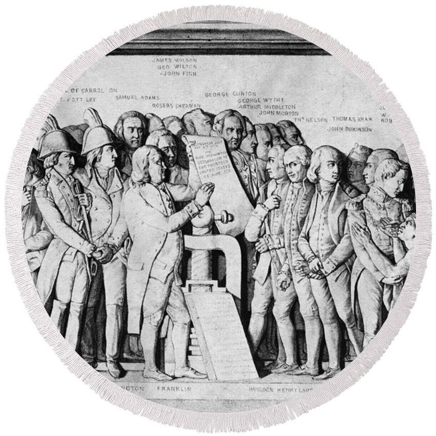 1814 Round Beach Towel featuring the photograph Declaration Of Independence by Granger