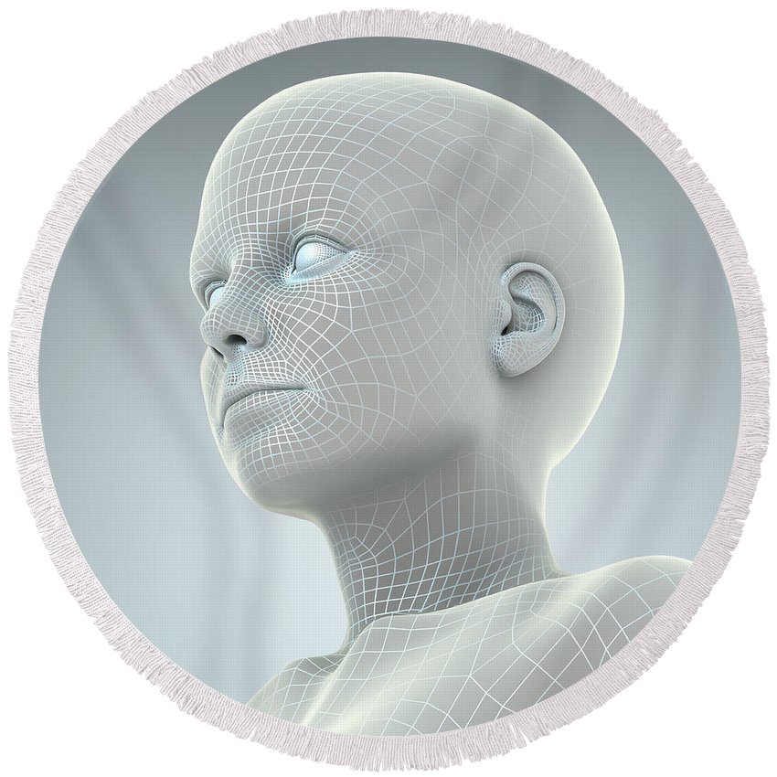 Artificial Intelligence Round Beach Towel featuring the photograph Digital Being by Science Picture Co