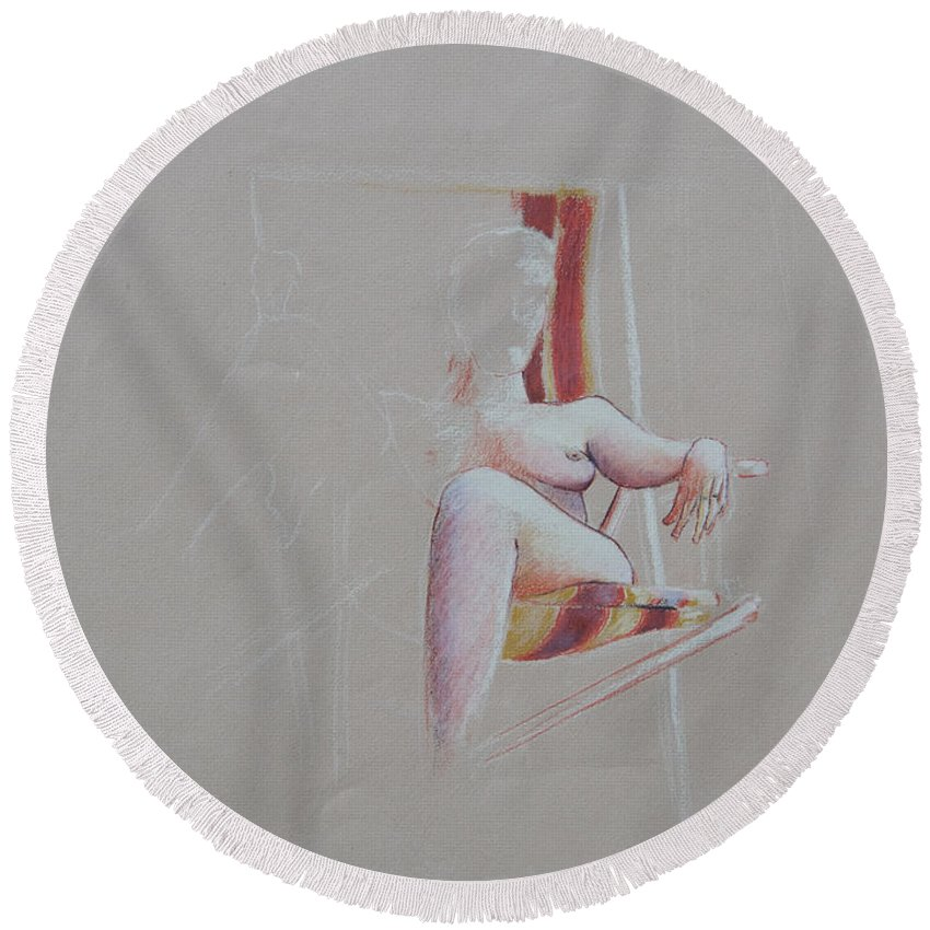 Figure Study Round Beach Towel featuring the drawing Figure Study by Rachel Christine Nowicki