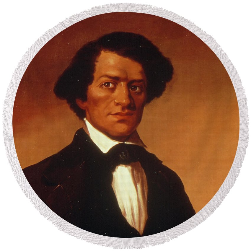 1844 Round Beach Towel featuring the painting Frederick Douglass (c1817-1895) by Granger