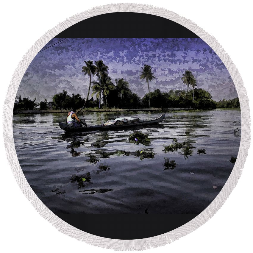 Action Round Beach Towel featuring the digital art Man Boating On A Salt Water Lagoon by Ashish Agarwal