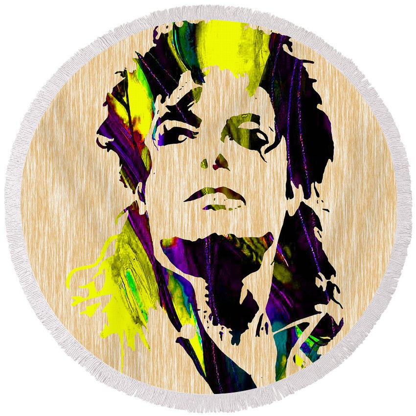 Michael Jackson Art Round Beach Towel featuring the mixed media Michael Jackson Painting by Marvin Blaine