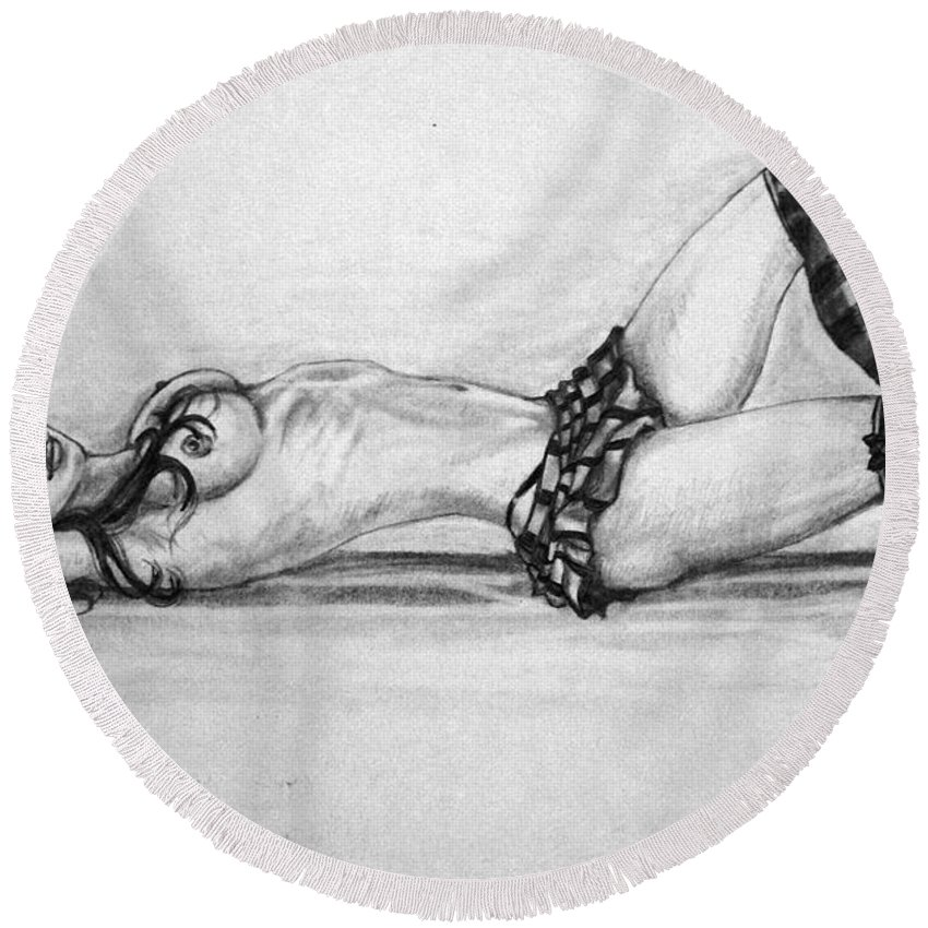 Model Round Beach Towel featuring the drawing Model by Alban Dizdari