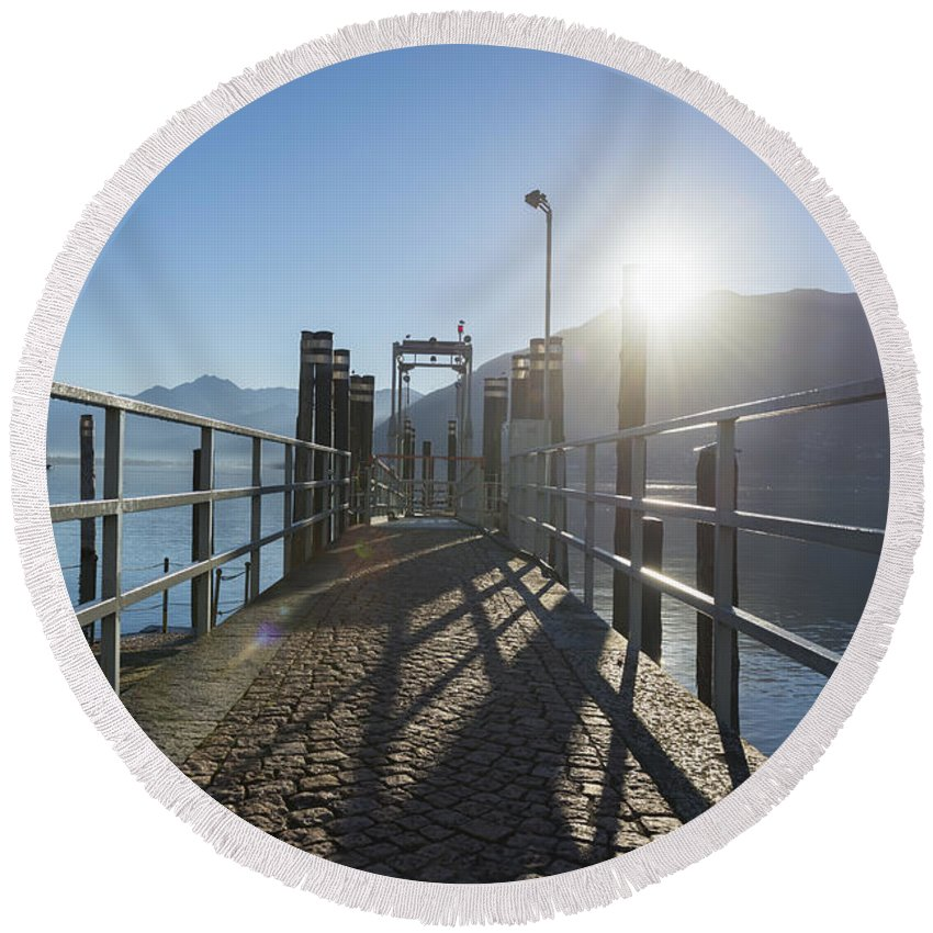 Lago Maggiore Round Beach Towel featuring the photograph Pier by Mats Silvan