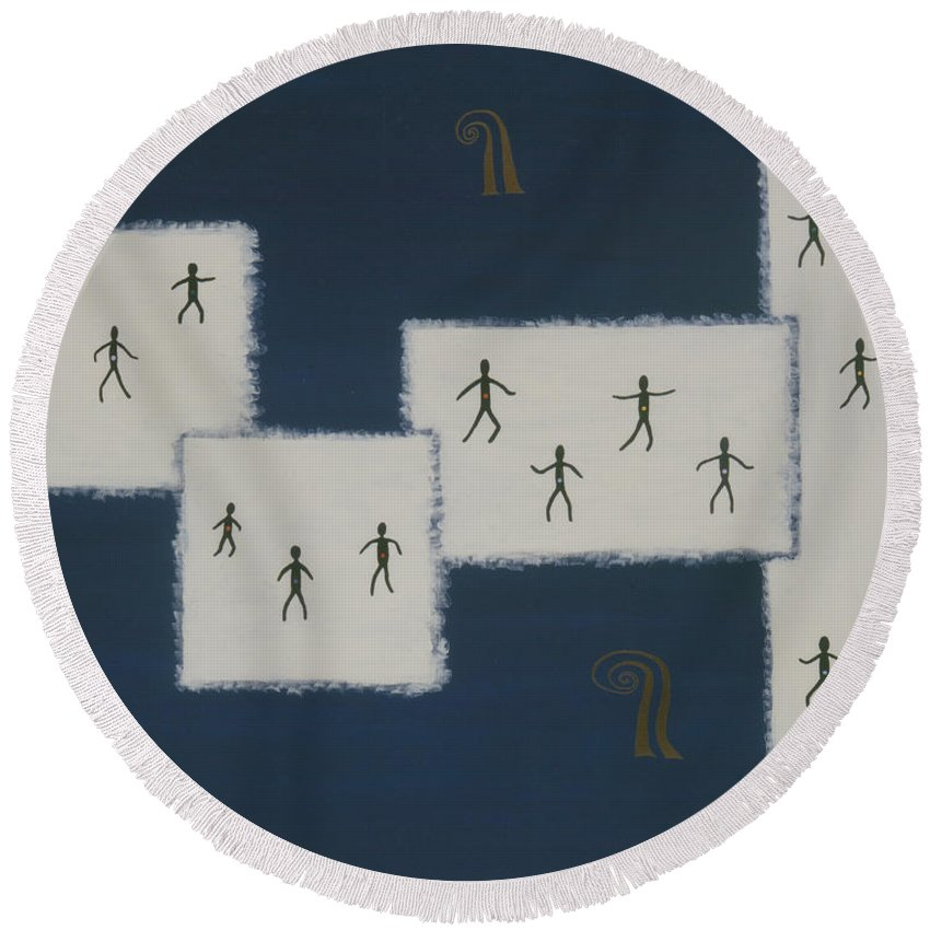 Universal Consciousness Round Beach Towel featuring the painting 7 Ray World Dance by Elle Nicolai