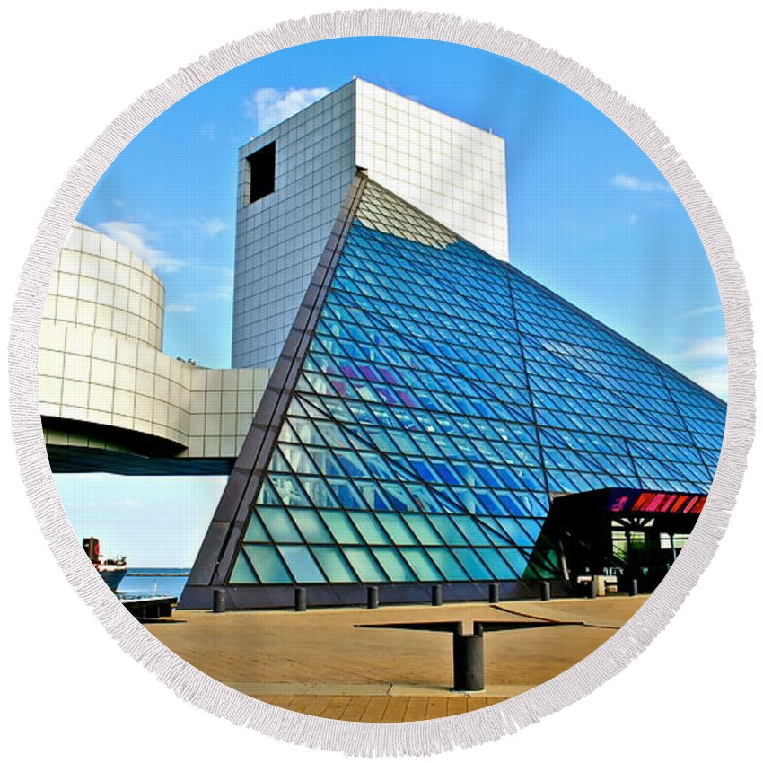 Rock Round Beach Towel featuring the photograph Rock and Roll Hall of Fame by Frozen in Time Fine Art Photography