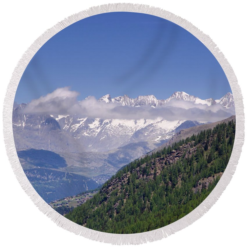 Mountain Round Beach Towel featuring the photograph Swiss Alps by Mats Silvan