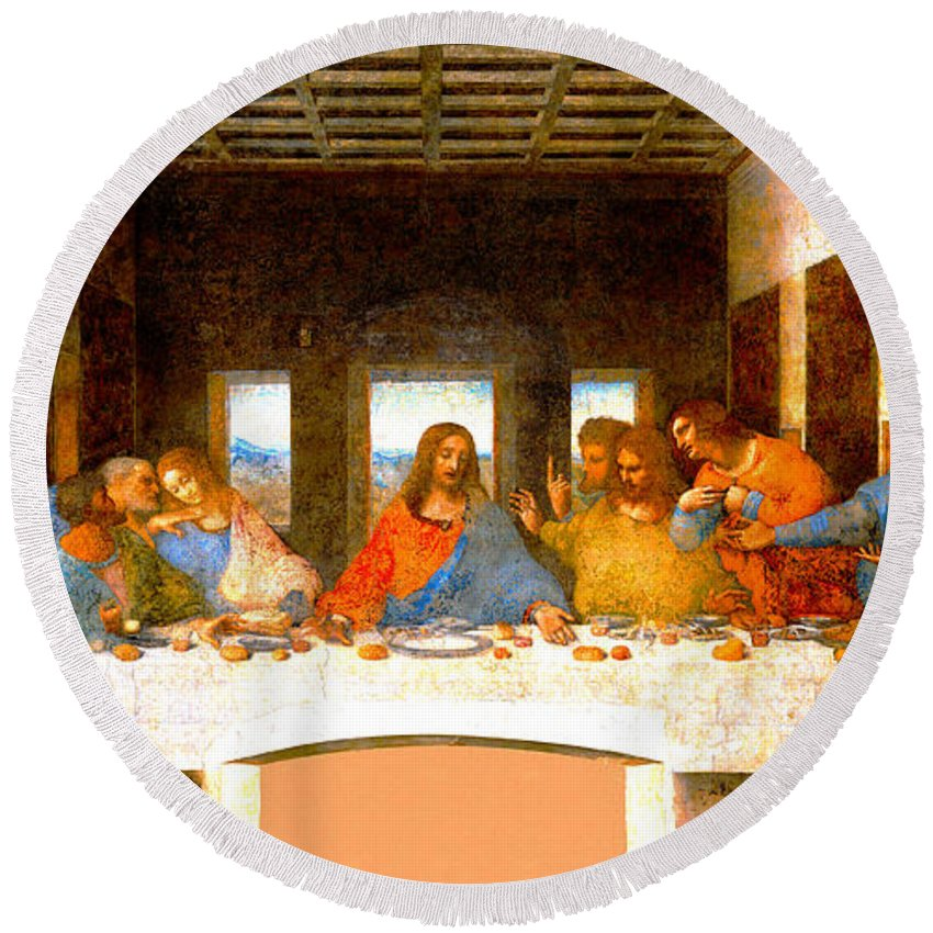 Leonardo Da Vinci Round Beach Towel featuring the digital art The Last Supper by Leonardo da Vinci