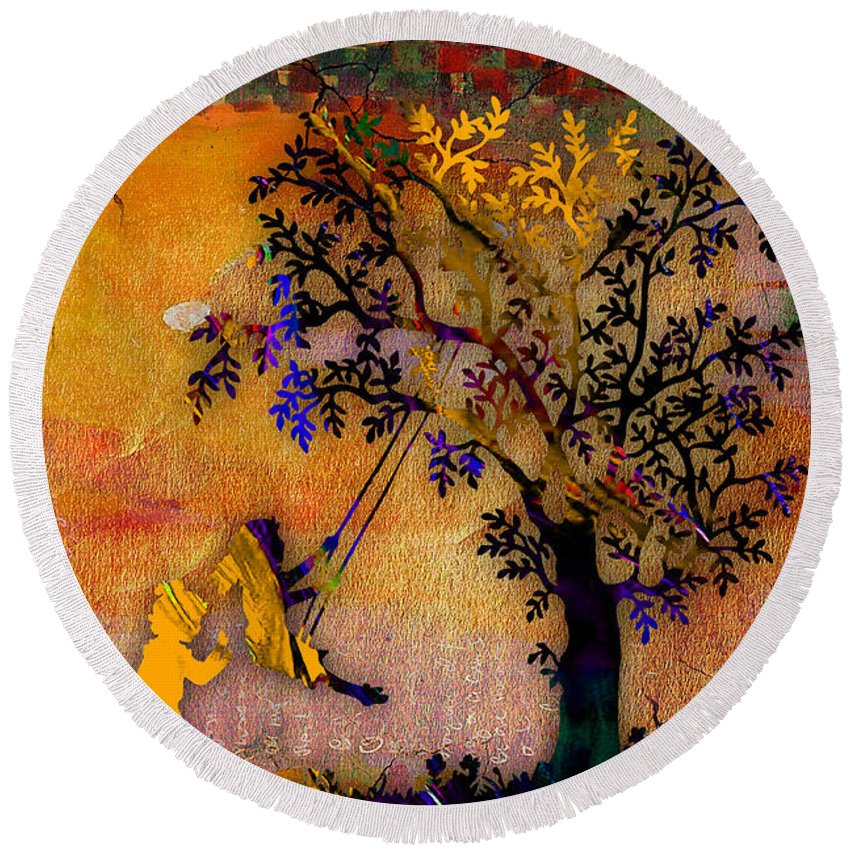 Sunset Round Beach Towel featuring the mixed media Tree Wall Art by Marvin Blaine