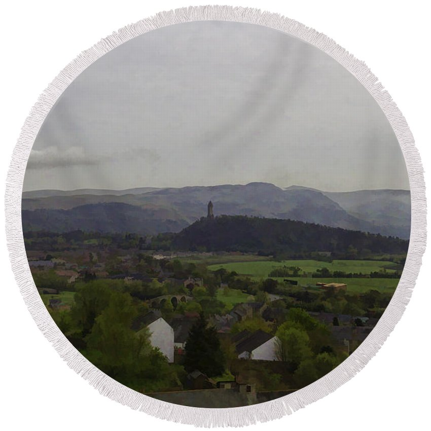 Building Round Beach Towel featuring the photograph View Of Wallace Monument And Surrounding Areas by Ashish Agarwal