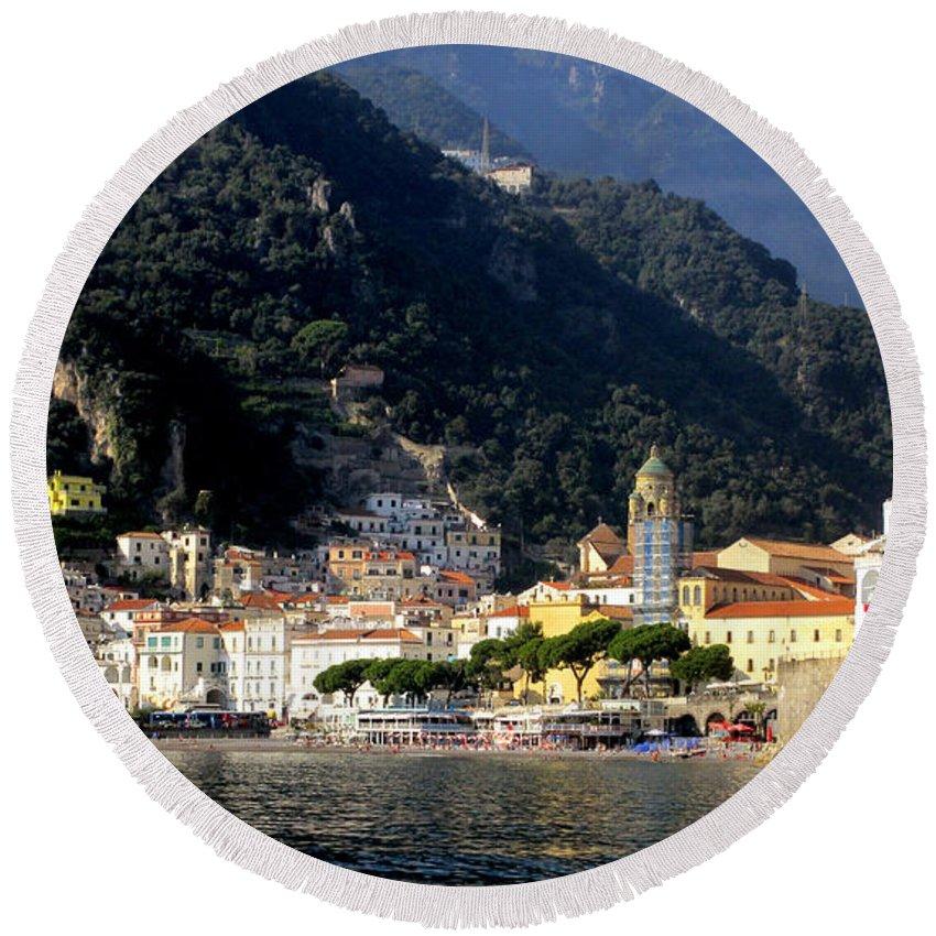 Amalfi Coast Round Beach Towel featuring the photograph Views From The Amalfi Coast In Italy by Richard Rosenshein