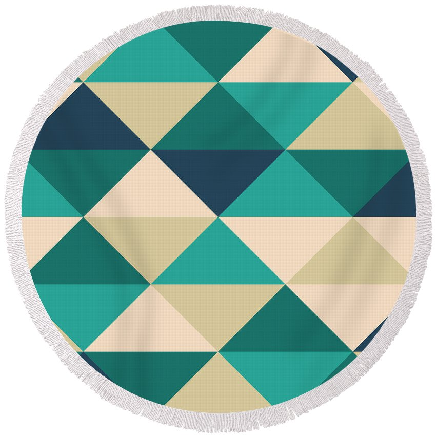 Abstract Round Beach Towel featuring the digital art Pixel Art by Mike Taylor