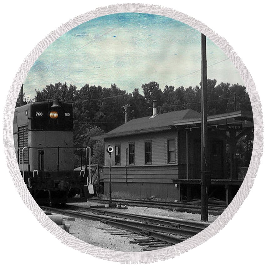 Train Engine Round Beach Towel featuring the mixed media 760 Train Engine Passing The Station Sc Textured by Thomas Woolworth