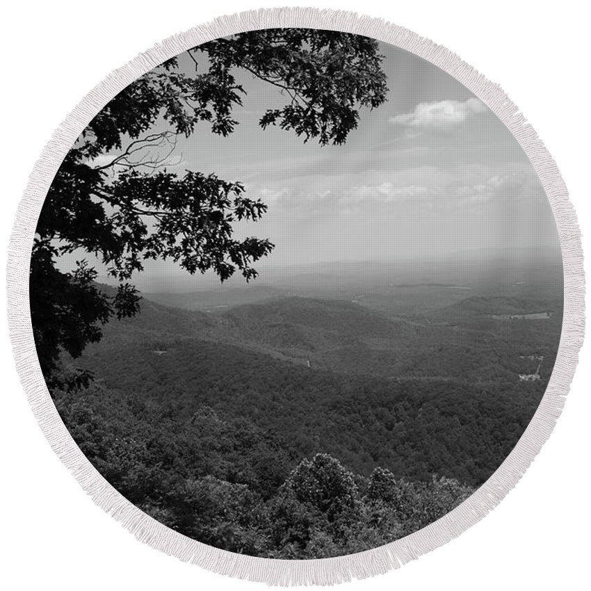 America Round Beach Towel featuring the photograph Blue Ridge Mountains - Virginia Bw by Frank Romeo
