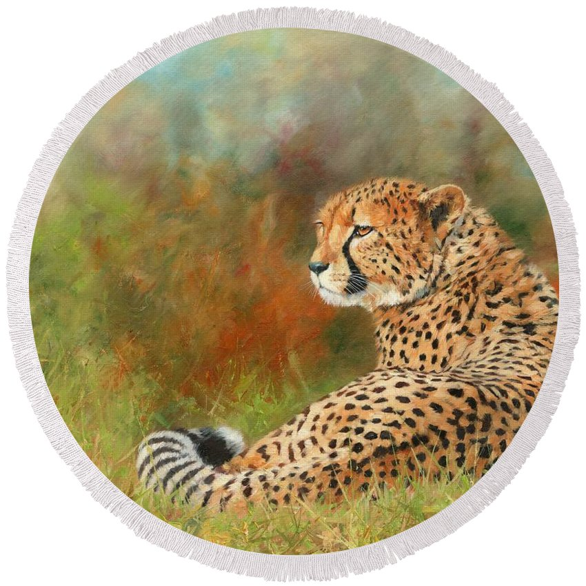 Cheetah Round Beach Towel featuring the painting Cheetah by David Stribbling