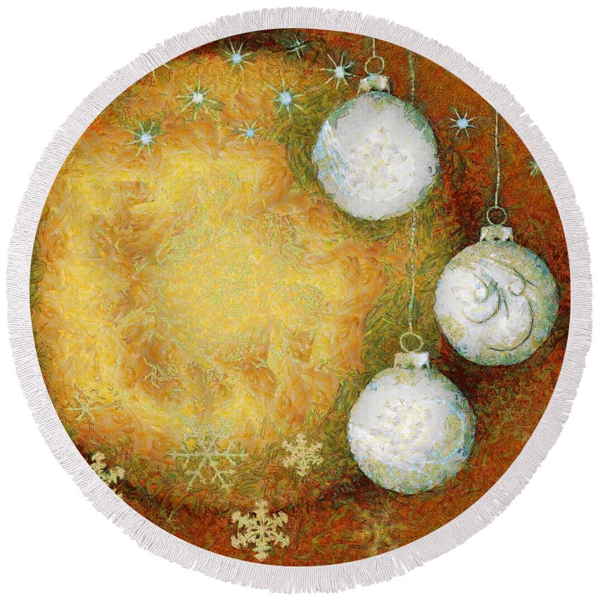 Abstract Round Beach Towel featuring the digital art Christmas Background by Michal Boubin