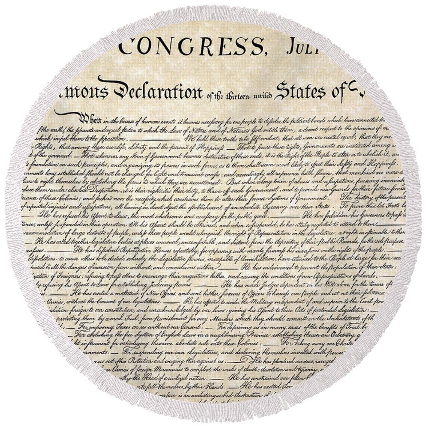 1776 Round Beach Towel featuring the photograph Declaration Of Independence by Granger