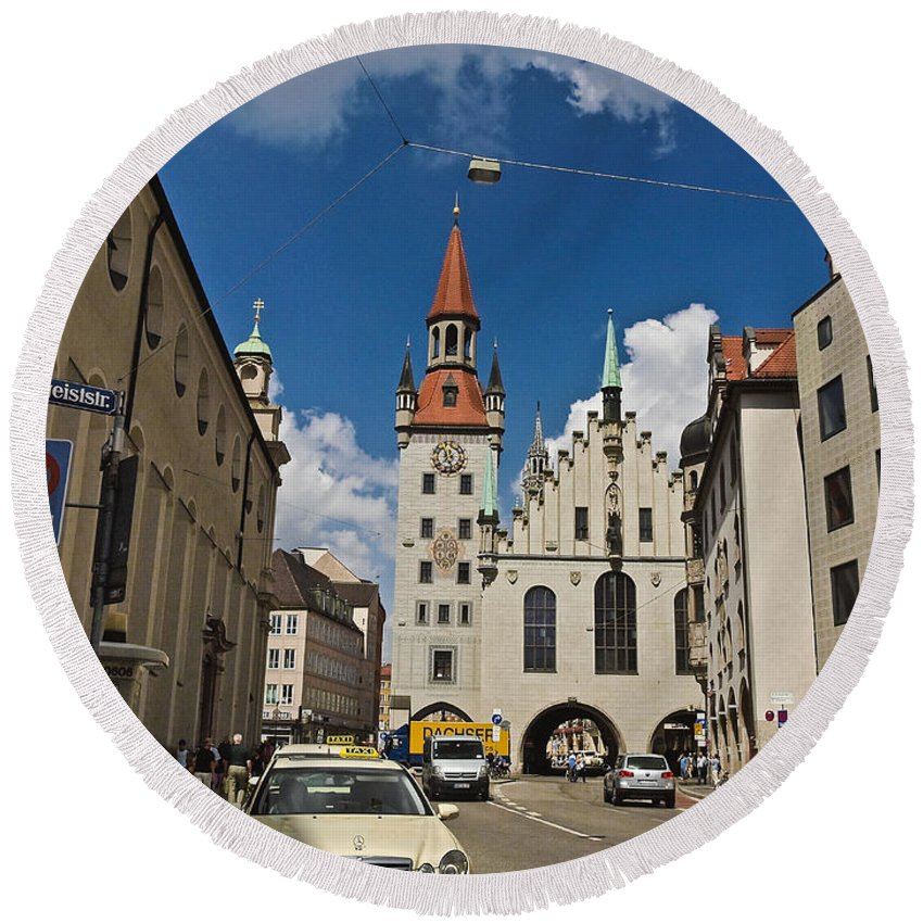 Altes Rathaus Round Beach Towel featuring the photograph Munich Germany by Howard Stapleton
