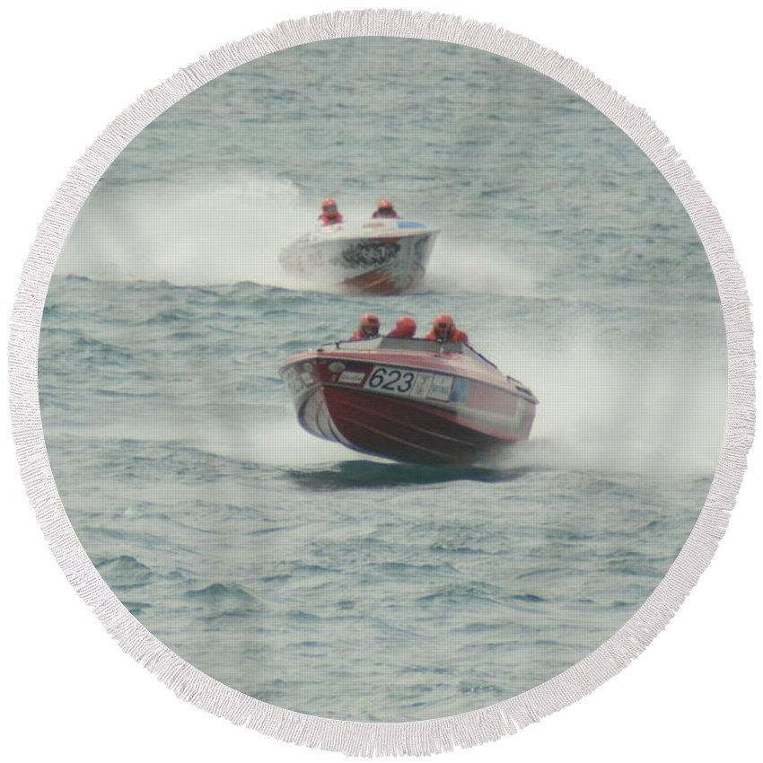 Powerboat Round Beach Towel featuring the photograph Port Huron Sarnia International Offshore Powerboat Race by Randy J Heath