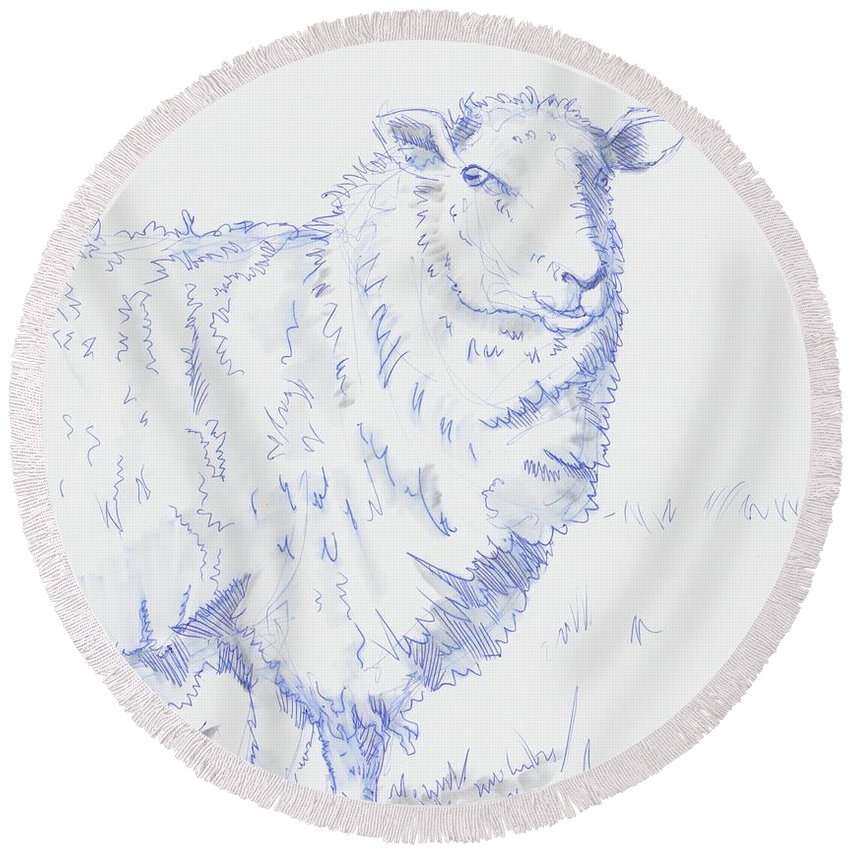 Sheep Round Beach Towel featuring the drawing Sheep by Mike Jory
