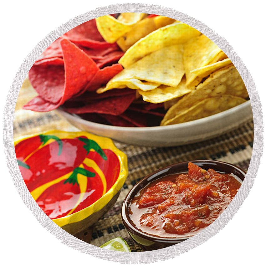 Salsa Round Beach Towel featuring the photograph Tortilla Chips And Salsa by Elena Elisseeva