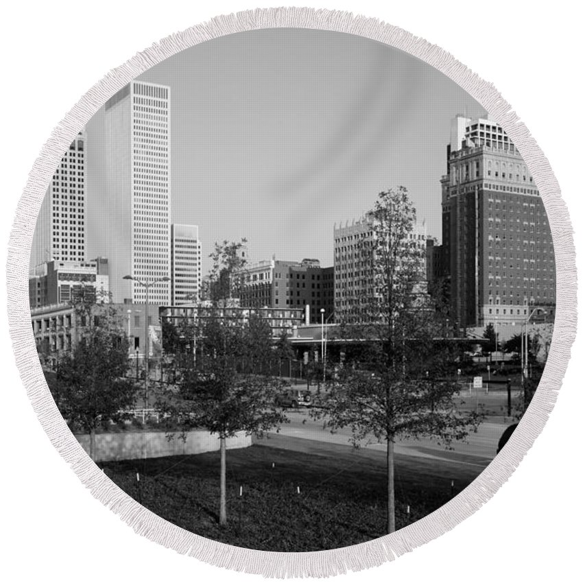 Black And White Round Beach Towel featuring the photograph Tulsa Oklahoma Skyline by Bill Cobb