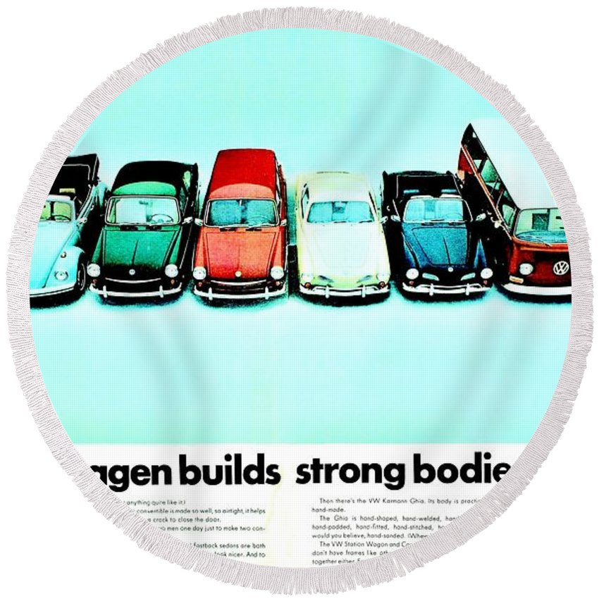 Volkswagen Round Beach Towel featuring the photograph 8 Ways by Benjamin Yeager
