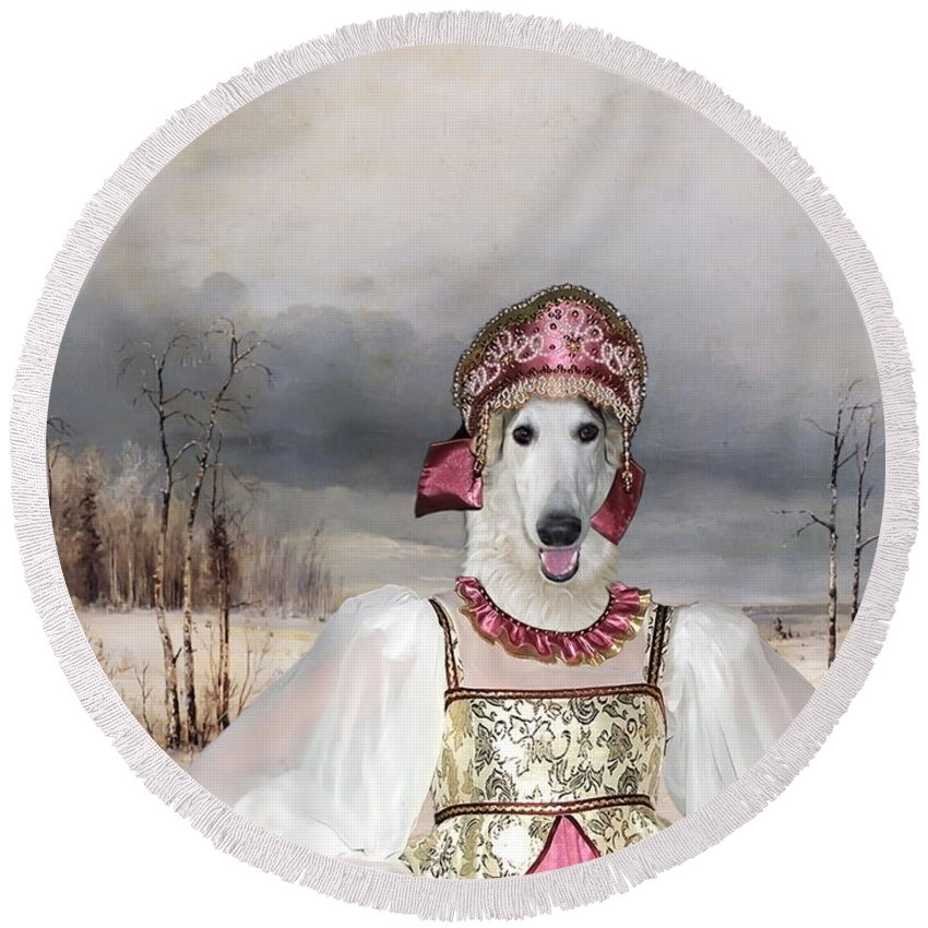 Borzoi Round Beach Towel featuring the painting Borzoi - Russian Wolfhound Art Canvas Print by Sandra Sij
