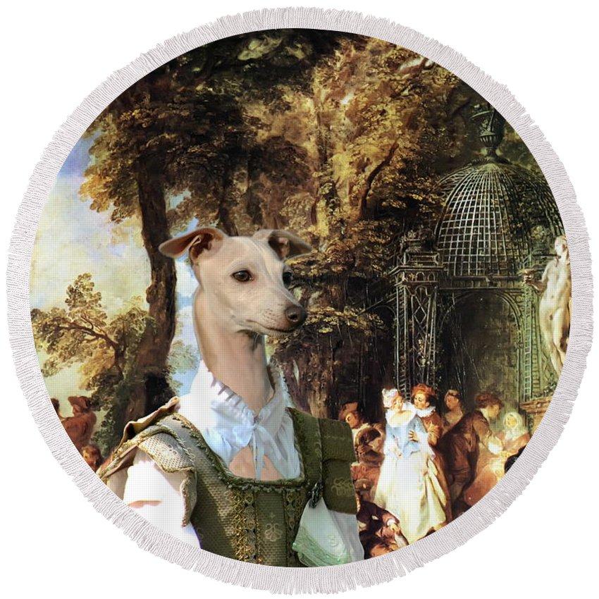 Italian Greyhound Round Beach Towel featuring the painting Italian Greyhound Art Canvas Print by Sandra Sij